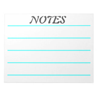 Wide Rule Turquoise Lined Note Paper