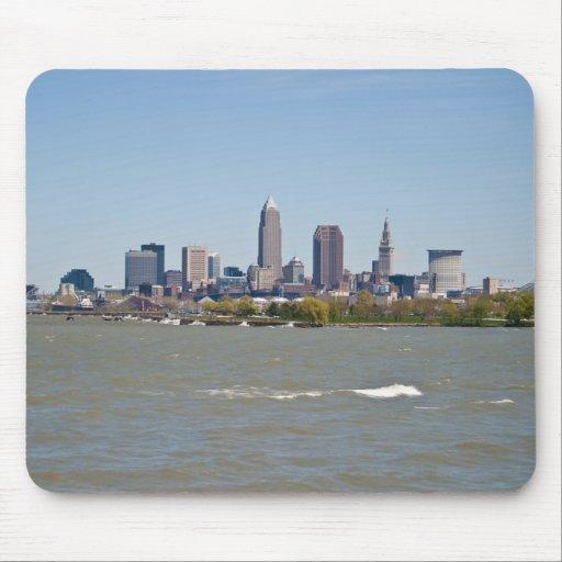 Wide Shot Cleveland Skyline Mouse Pads