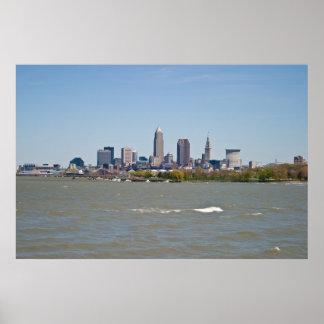 Wide Shot Cleveland Skyline Poster