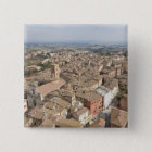 Wide shot of the hill town of Siena, Italy, Pinback Button