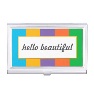 """Wide Striped with """"hello beautiful"""" Business Card Case"""