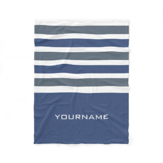 Wide Stripes custom monogram fleece blanket