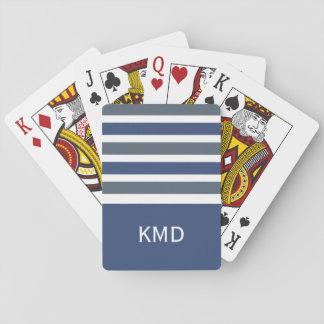 Wide Stripes custom monogram playing cards