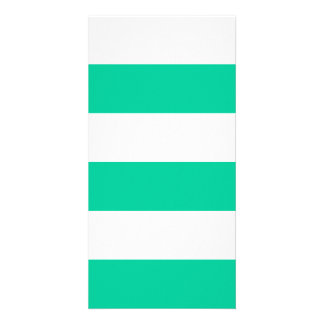 Wide Stripes - White and Caribbean Green Photo Card