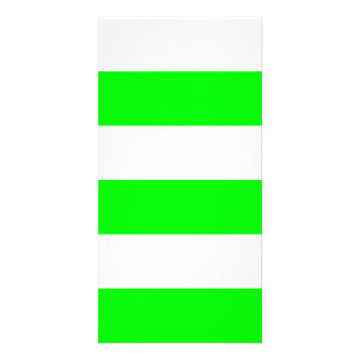 Wide Stripes - White and Electric Green Photo Card