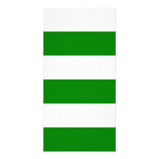 Wide Stripes - White and Green Photo Card