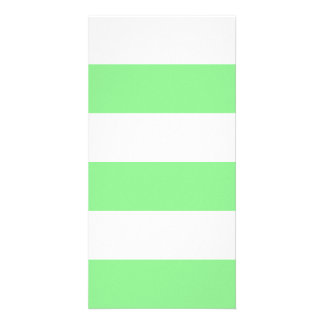 Wide Stripes - White and Light Green Photo Card