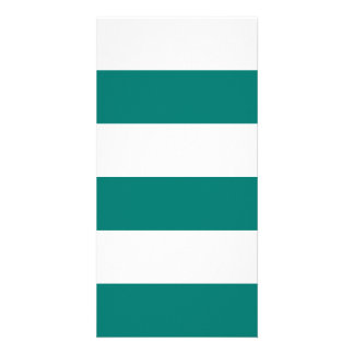Wide Stripes - White and Pine Green Photo Card