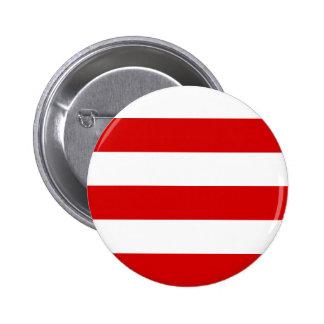 Wide Stripes - White and Rosso Corsa 2 Inch Round Button