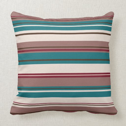 Teal And Cream Decorative Pillows : Wide Stripey Design Browns Teal Cream & Plum Throw Pillow Zazzle