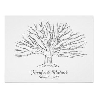 Wide Thumbprint Tree GuestBook