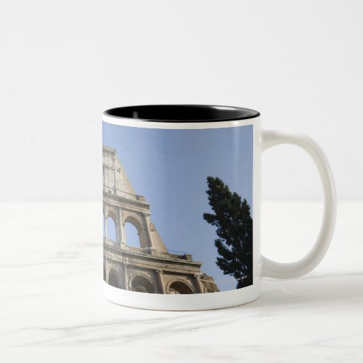 Wide view looking up at the Roman Colosseum with Two-Tone Coffee Mug