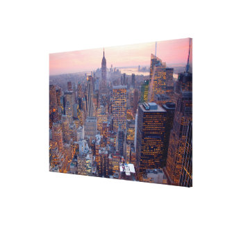 Wide view of Manhattan at sunset Gallery Wrap Canvas