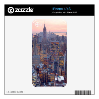 Wide view of Manhattan at sunset Decals For iPhone 4S