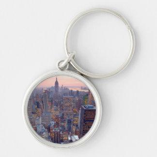 Wide view of Manhattan at sunset Keychain