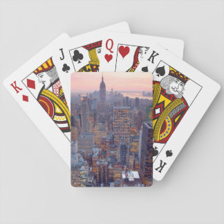 Wide view of Manhattan at sunset Playing Cards