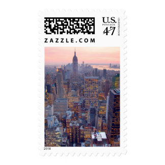 Wide view of Manhattan at sunset Postage
