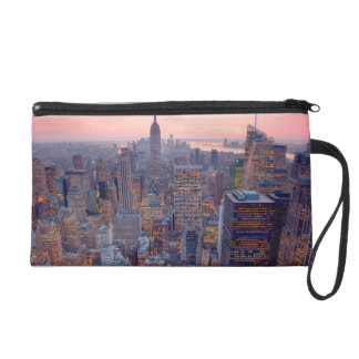 Wide view of Manhattan at sunset Wristlet Purse