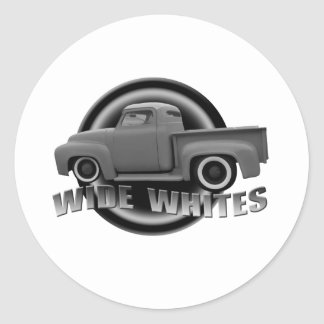 wide whites on steels classic round sticker