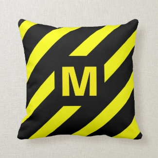 Wide Yellow and Black Diagonal Stripes Monogram