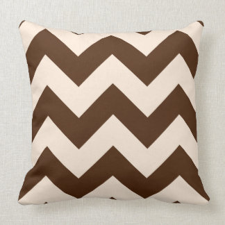 Wide Zigzag Pattern Brown and Cream Throw Pillows
