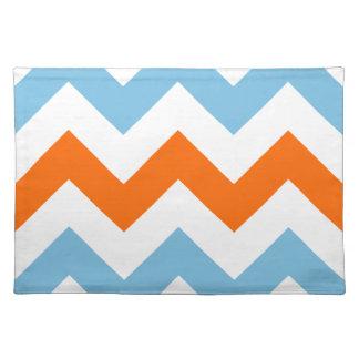 Wide Zigzag Pattern Orange White Blue Placemat