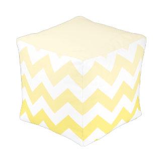 Wide Zigzag Pattern Yellow Gradient & White Pouf