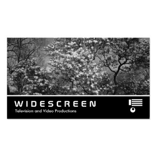 Widescreen 398 - Magnolia Tree in Blossom (B&W) Double-Sided Standard Business Cards (Pack Of 100)