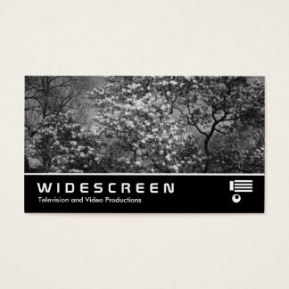 Widescreen 398 - Magnolia Tree in Blossom (B&W) Business Card