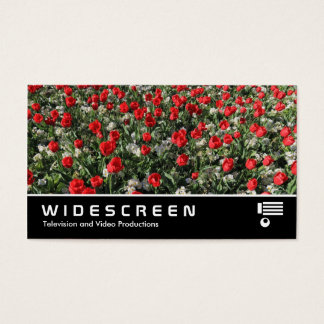 Widescreen 399 - Red Tulips and Primroses Business Card