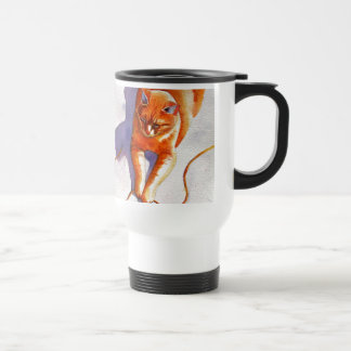 Widget Orange Tabby Playiing String Travel Mug