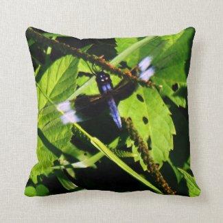 Widow Skimmer Dragonfly Throw Pillow