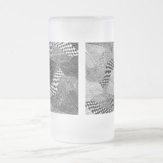Widow's Web White/Black Frosted Glass Beer Mug