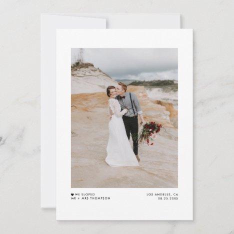 WIe Eloped Modern Minimalist Black Photo Wedding Announcement