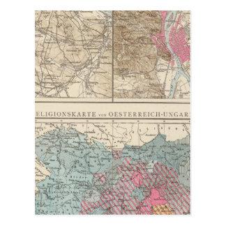 Wien, Prag, BudaPest Map Postcard