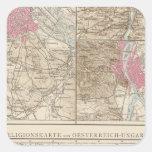Wien, Prag, mapa de Budapest Calcomania Cuadradas Personalizada