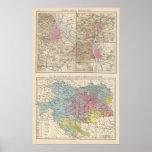 Wien, Prag, mapa de Budapest Posters