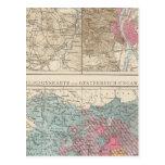 Wien, Prag, mapa de Budapest Tarjeta Postal