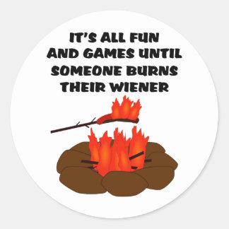 Wiener Burn Round Stickers