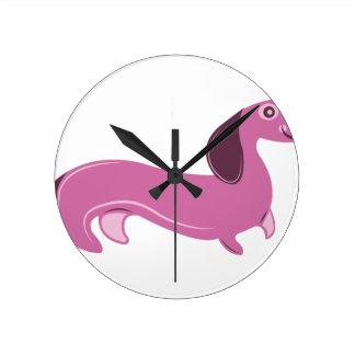 Wiener Dog Round Clock