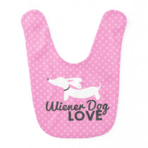 Wiener Dog Love Pink Polka Dog Baby Bib