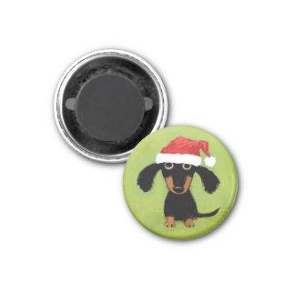 Wiener Dog Santa 1 Inch Round Magnet
