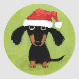 Wiener Dog Santa Classic Round Sticker