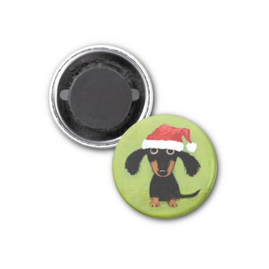 Wiener Dog Santa Magnet
