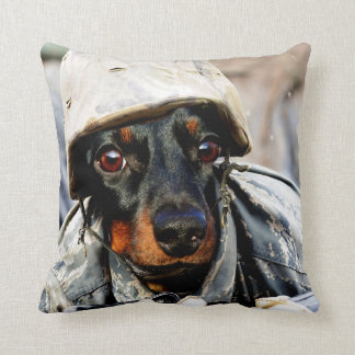 Wiener dog soldier throw pillow