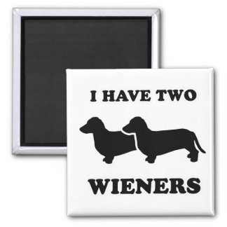 """WIENER DOG TEES - """"I have two weiners"""" 2 Inch Square Magnet"""