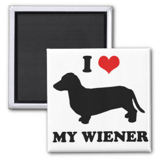 "WIENER DOG TEES - ""I love my wiener"" 2 Inch Square Magnet"