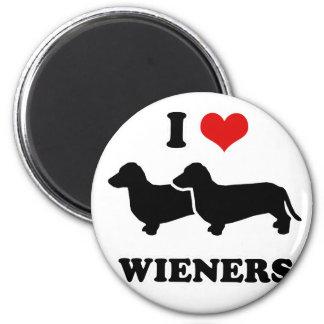 "WIENER DOG TEES - ""I love my wieners"" 2 Inch Round Magnet"