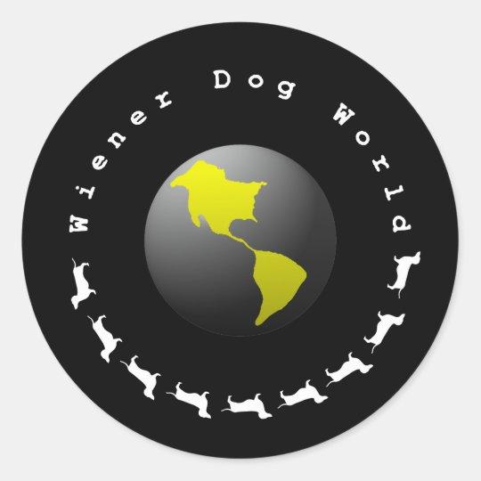 Wiener Dog World Graphic Classic Round Sticker
