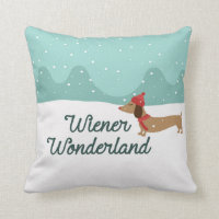 Wiener Wonderland Dachshund Christmas PIllow
